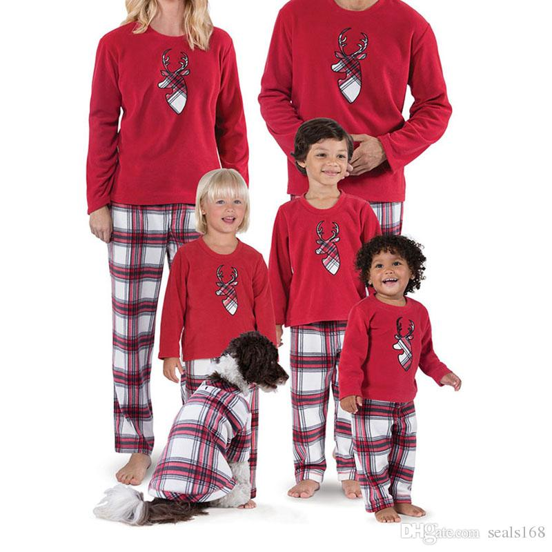 1481e1e578 2019 Xmas Pajamas Set For Kids Adult Family Matching Striped Reindeer  Sleepwear Nightwear Sleepcoat Child Parent HH7 1682 From Seals168