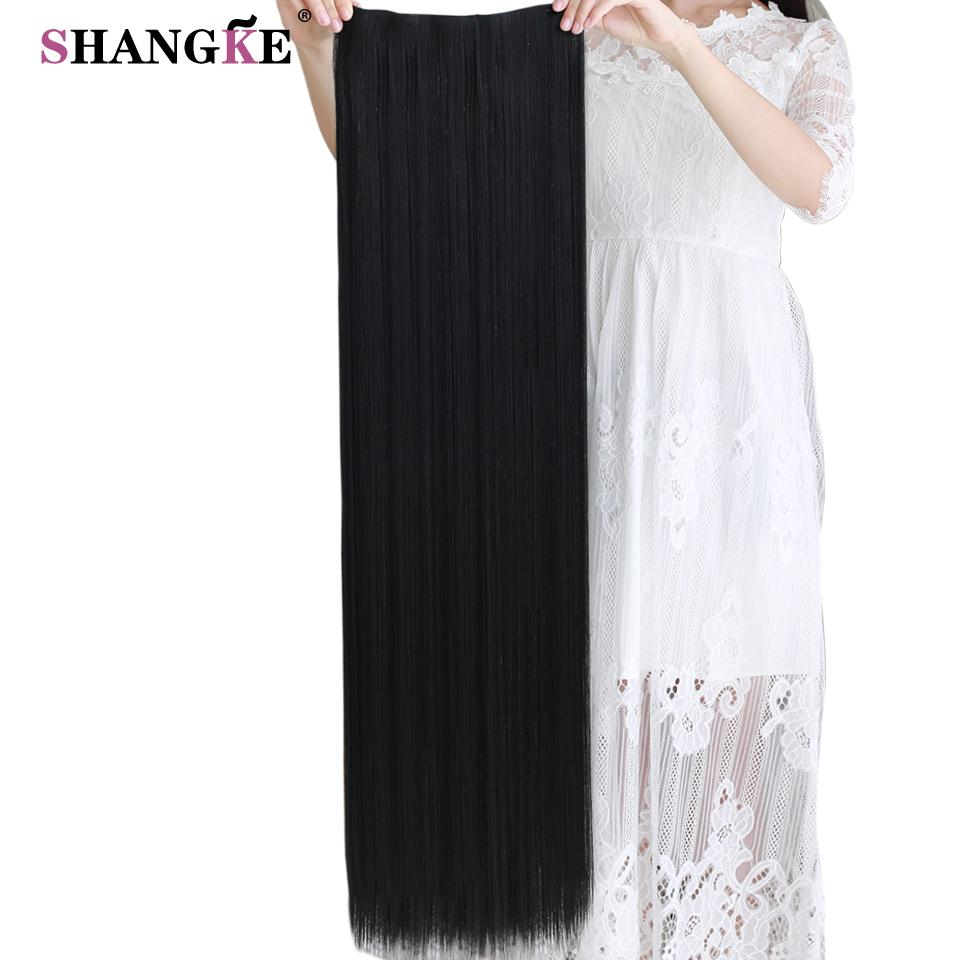SHANGKE 80 CM Long Straight Women Clip In Hair Extensions Heat Resistant  Synthetic Hair Piece Black Dark Brown Hairstyle Hair Extensions Clips On Hair  Clips ... e4660ae2095