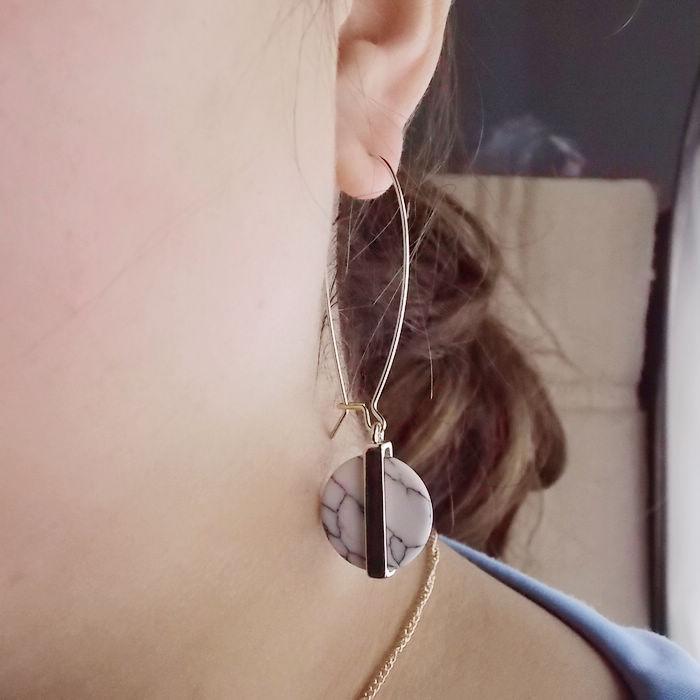 2016? dame de la mode boucles d'oreilles pendantes en marbre reconstituant des moyens anciens