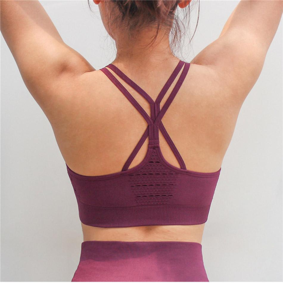 d6601c86524b2 2019 Women S Energy Seamless Sports Bra High Support Sports Bra Hollow Out  Yoga Cross Back Soft Wireless Tank Top Running From Vanilla12