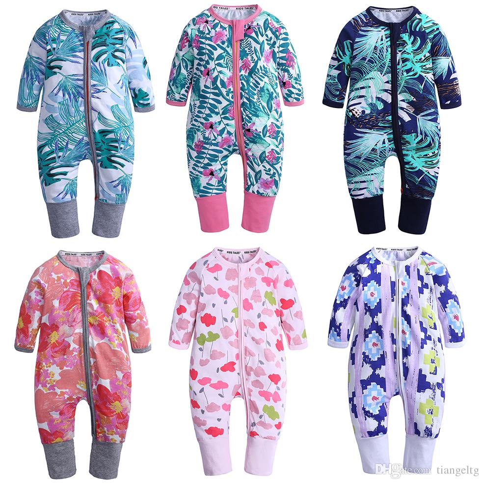 4b5e59ba286 2019 Baby Print Rompers !00% Cotton 36 Designer Boys Girls Clothes Penguin  Fox Plantain Floral Daisies Striped Rainbow Jumpsuits Newborn Rompers From  ...