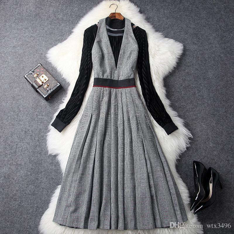 06b7cf0a95 Compre Vestido De Dos Piezas De Estilo Halter De Invierno Y Primavera