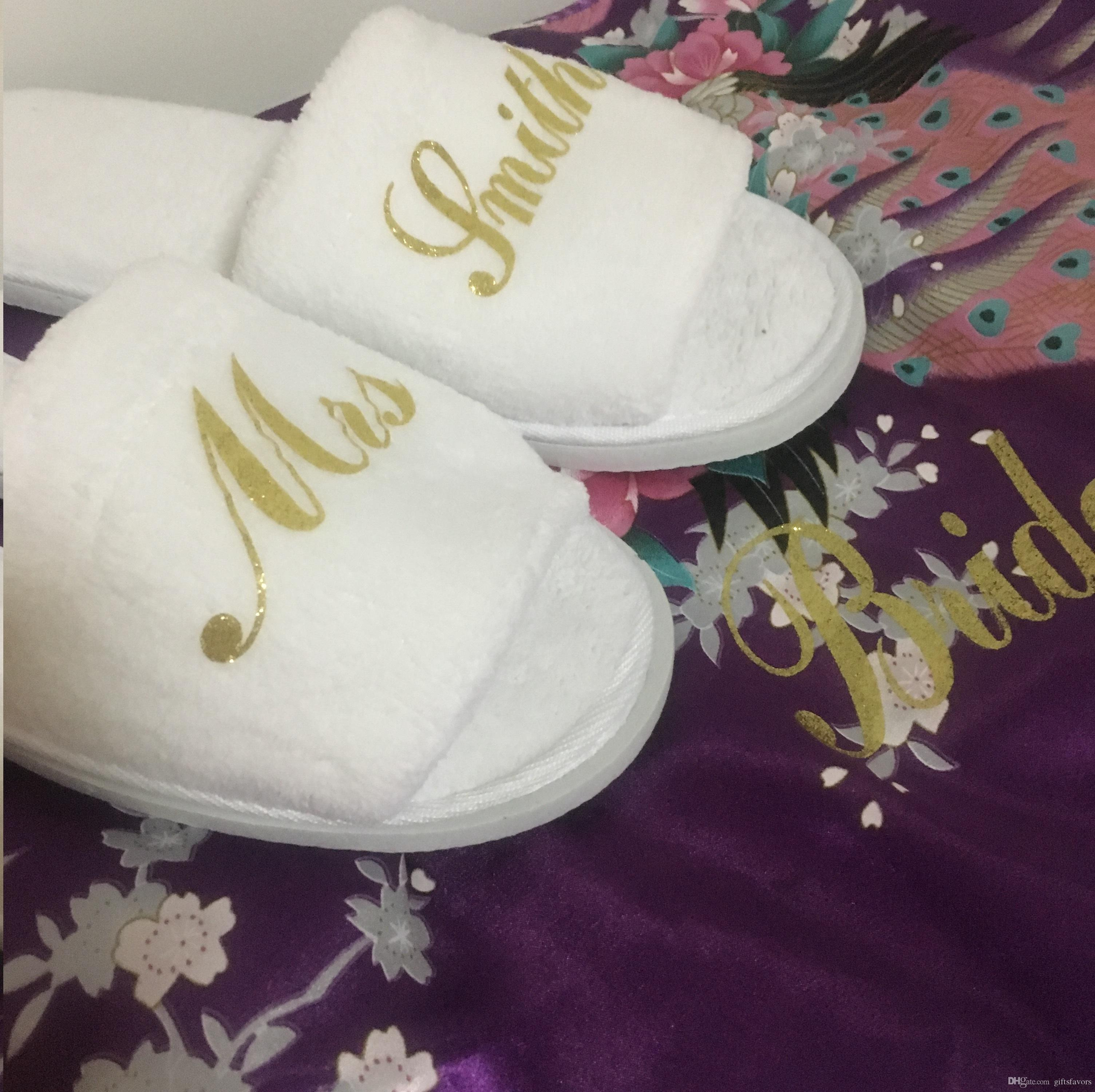 8f0f8db73574 Unique Bridesmaid Gift Wholesales Personalized Wedding Slippers Bride Guest Hen  Party Gifts Wedding Decorations Wedding Flowers From Giftsfavors