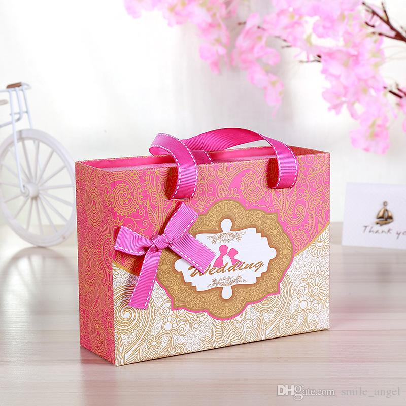 2018 High End Wedding Favors Box Bowknot Candy Boxes Paper Gift Bag