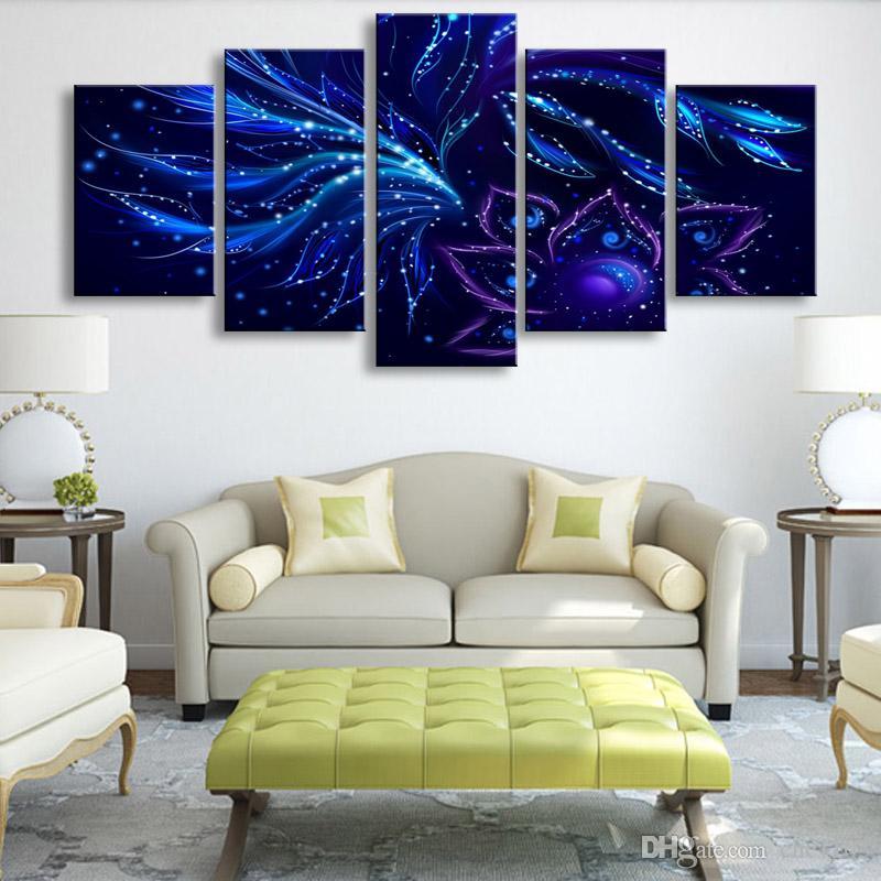 5 parça yüksek çözünürlüklü baskı mavi çiçekler desenleri yaprakları tuval yağlıboya posteri ve duvar sanatı oturma odası pictur PF5-014