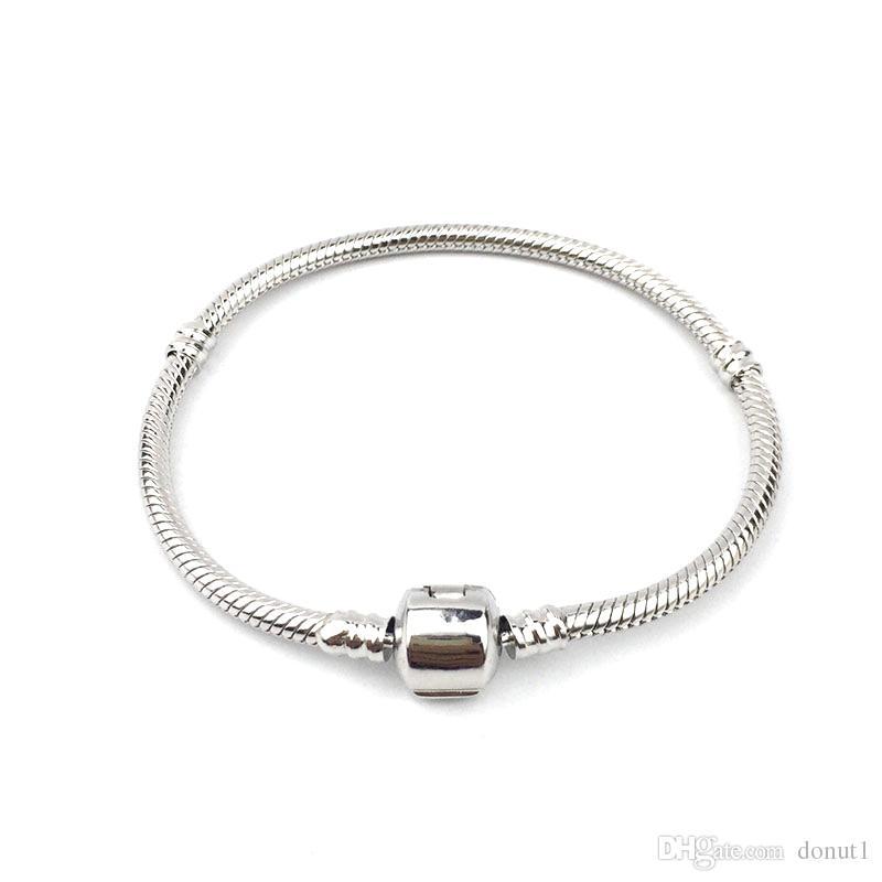 Pandora Style Snake Charm Bracelet Rhodium Plated Charm Bangle