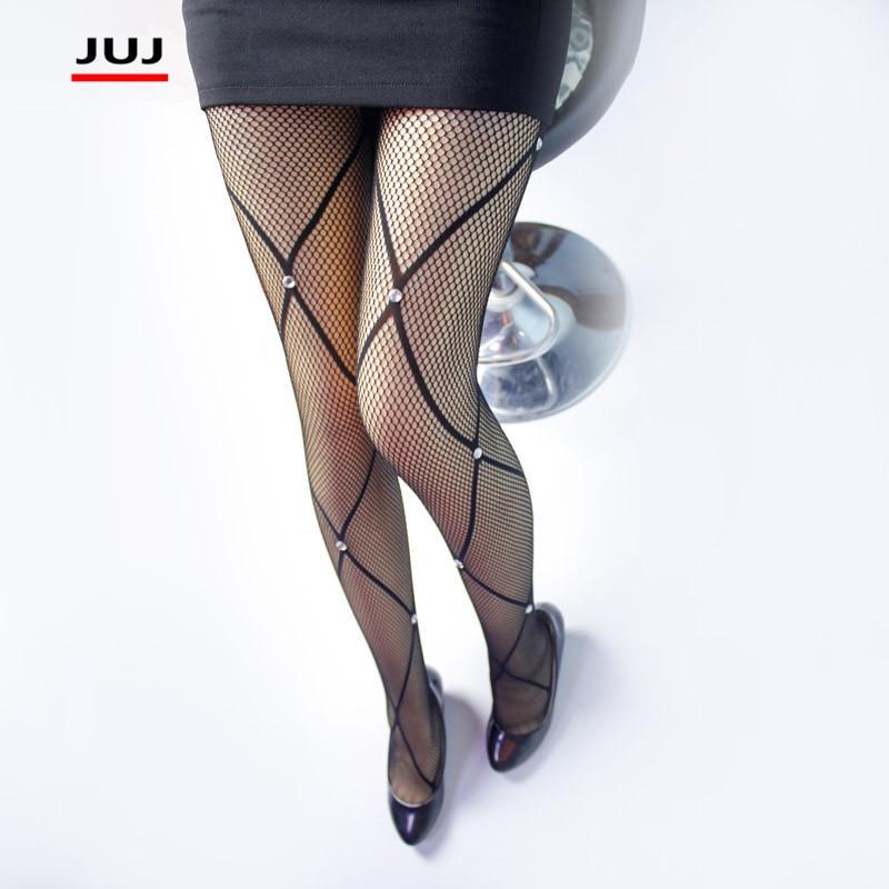 1eaa9214f34442 2017 Summer Women's Lady Black Large size Sexy Lozenge Fishnet tight  Pattern Jacquard mesh Stockings Shiny Rhinestones pantyhose