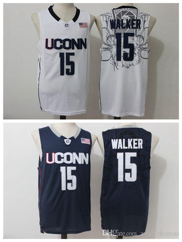 c45dd83505af ... 2018 new uconn huskies 15 kemba walker white navy blue cheap throwback college  basketball jersey siz