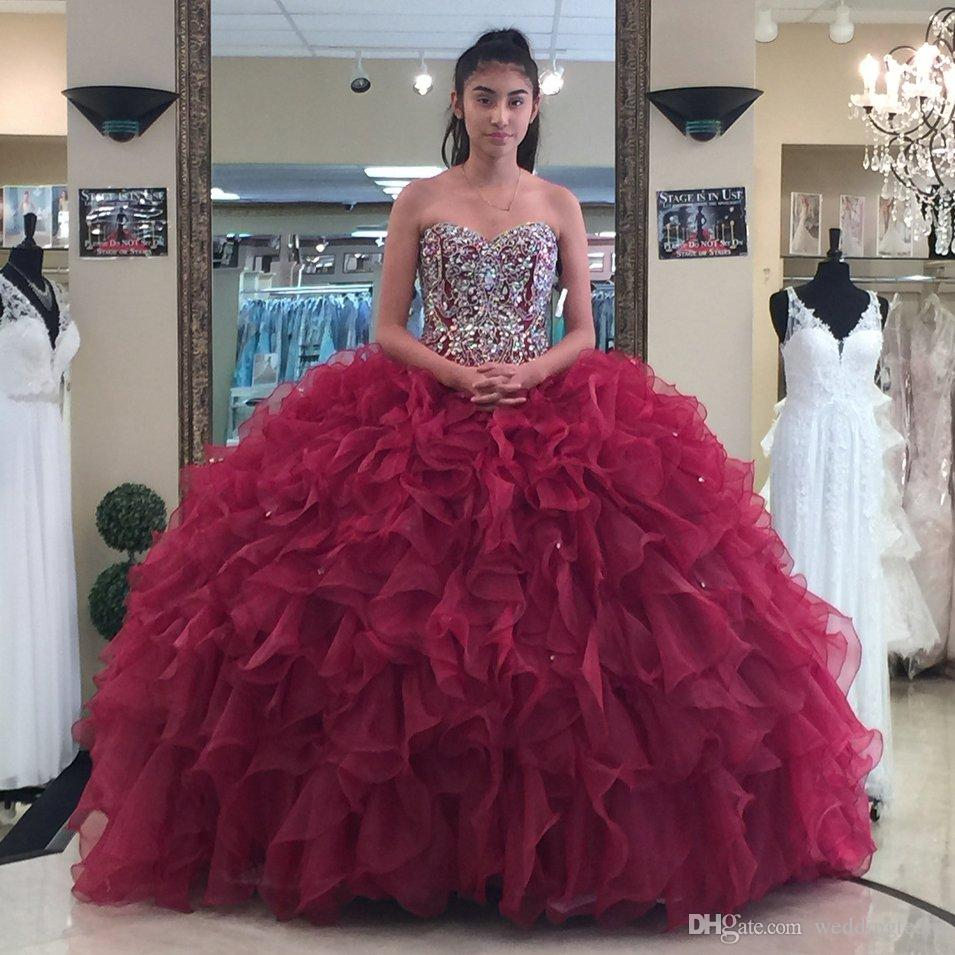 91c2ba5e4ae 2018 Burgundy Beaded Ball Gown Quinceanera Dresses Strapless Neckline  Appliques Prom Gowns Crystals Lace Up Back Rhinestones Sweet 16 Dress Full  Length ...