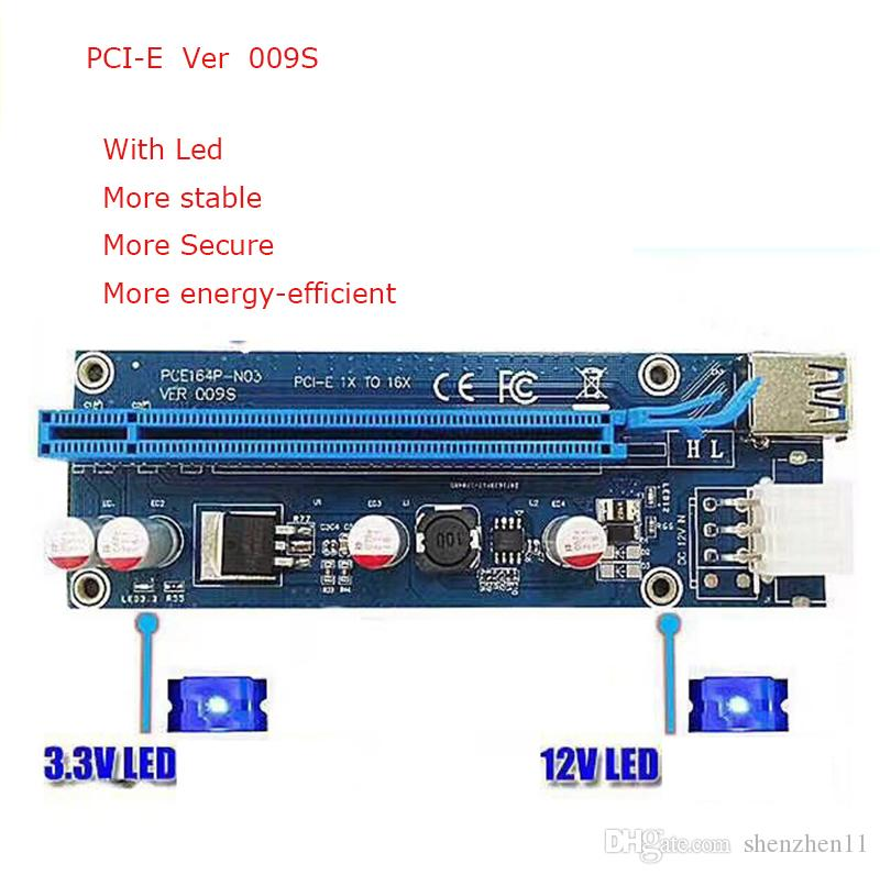 For BTC Ver009S 60cm PCI-E Riser Express 1X 4x 8x 16x Extender Riser Adapter Card SATA 15Pin-6Pin USB 3.0 60cm Power Cable With Led OTH269