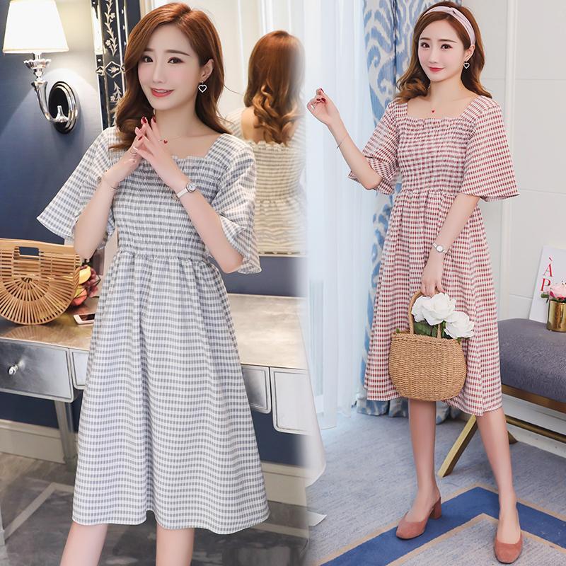 Longue Coton Plaid Doux Robe Vêtements Maternité Petite Pour Femmes Enceintes Coréenne Taille Été Grossesse De Mode Les Slim D 5R4AL3j