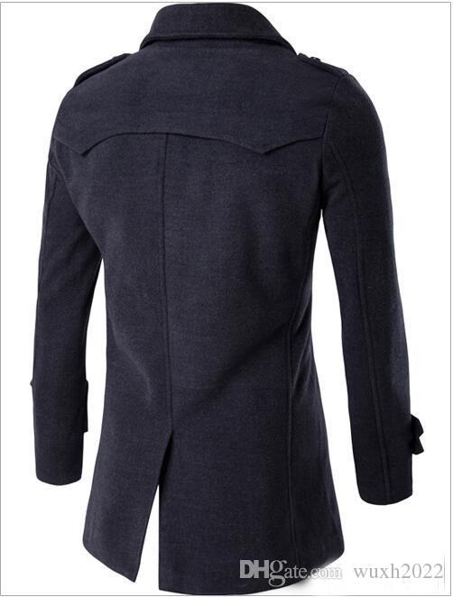 Hiver Hommes Slim Fit Laine Mélanges Automne Solide Marque Vêtements Veste Manteau En Laine Manteau Décontracté Long Manteau Long Plaid Chaud 3 Couleurs
