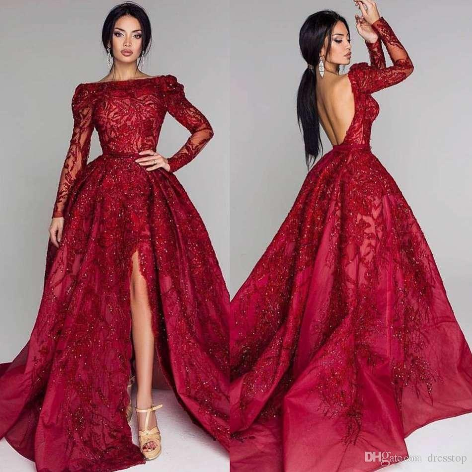 d688749fb64 Burgundy Sparkly Prom Dresses Bateau Neck Backless Sequined Formal Evening  Dress Sweep Train Thigh Slit Long Sleeve Reception Party Gowns Party Gonws  Prom ...