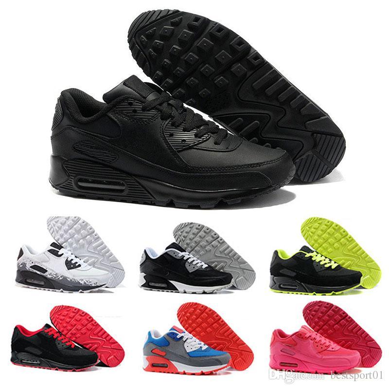low priced 25a51 af11c Acquista Nike Air Max 90 Scarpe Casual Da Uomo Scarpe Casual Da Uomo E Da Donna  Nero Rosso Bianco Sport Trainer Cuscino Scarpe Sportive Traspiranti 36 45 A  ...