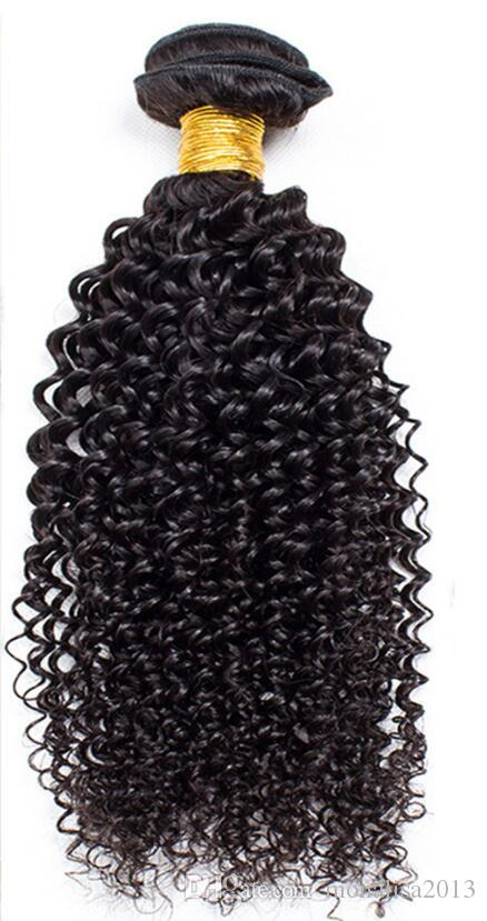 Factory Price ! Brazilian Hair Kinky Curly hair Bundles with Lace Closure 100% Human Hair weft NO tangle&shedding