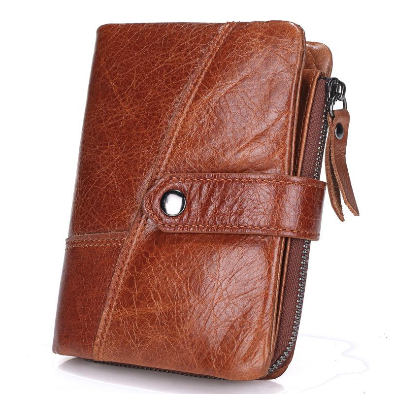 0478472302 New Top Quality Genuine Leather men Wallet Brand zipper Men s Wallets  Luxury Dollar Vintage cow leather Male Purse card Coin Bag