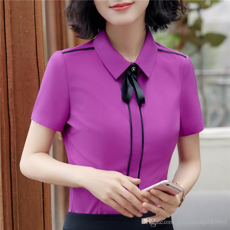 b1604235b6d Women S Shirts New Style Summer Short Sleeved Shirt Solid Color Black Patchwork  Slim Formal OL Business Blouses   Shirts UK 2019 From Donnatang240965