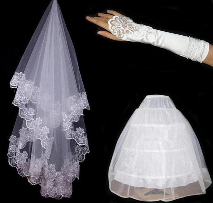 Пряжа вышивка кружева перчатки Перчатки кружева невесты корзина и 3 кольца белая юбка высокого класса три комплекта невесты свадебный аксессуар