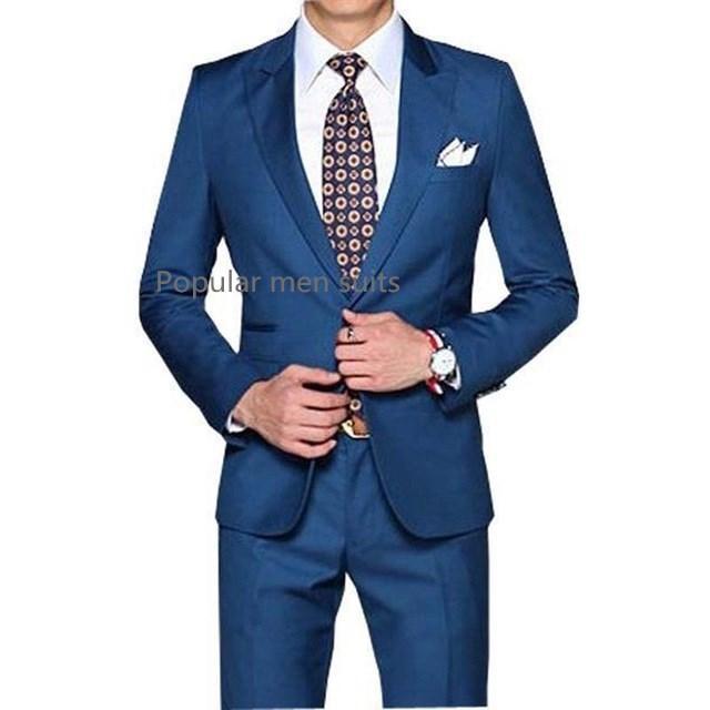 Compre Hombres De Negocios Formal Novio Smoking Azul Padrinos De Boda  Trajes De Boda   Cena Solapa Mejores Trajes De Hombre 2 Piezas Chaqueta +  Pantalones + ... 81a40855ba1