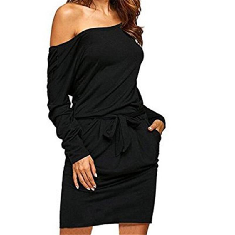 715944d50f40 Acquista Abito Donna Vestidos Felpa Dress Elegante 2019 Fashion Sash ...