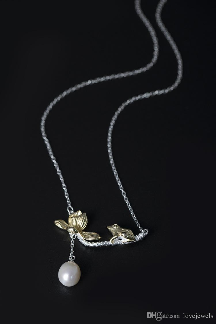 100% Pure silver 925 Pendant Necklace female temperament national style national fresh water pearl lotus leaf Frog Necklace clavicle