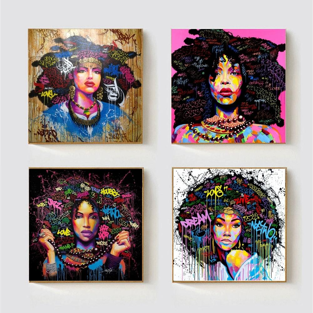 African american black abstract women portrait wall art afro poster canvas painting home wall decor pop graffiti style dropship y18102209