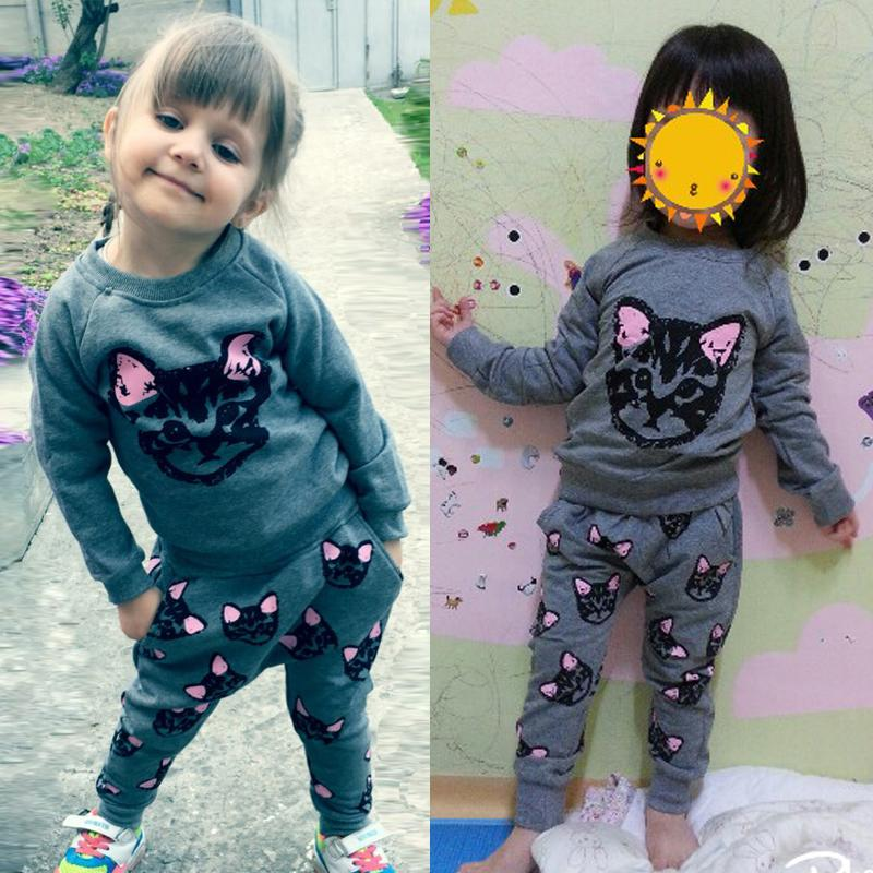 HH Kids clothes brands girls clothing sets autumn cat print girls clothes children's suit Casual baby girl pullover sport suit