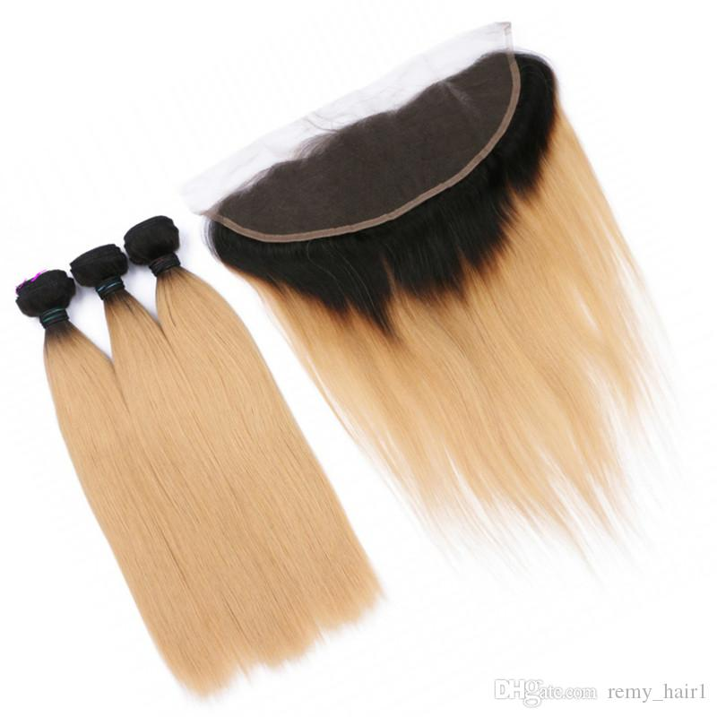 Honey Blonde Ombre Virgin Hair Weaves with Lace Frontal Closure 13x4 Straight #1B/27 Ombre Indian Human Hair Bundles Deals with Frontals