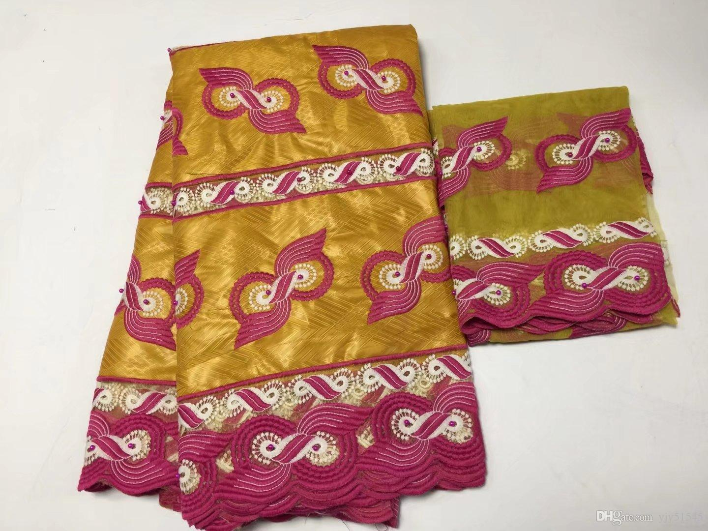 TPY1047 5+2yards fancy embroidered African bazin lace fabri with beads mathced with Scarf net lace for party dress