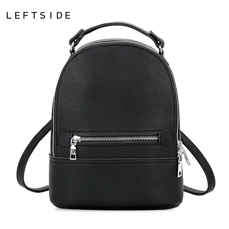 904f1107f1cb 2019 FashionLEFTSIDE Simple Style Women Fashion Small PU Leather Backpacks  Female Backpack Travel Bag School Bags For Teenagers Girls 2018 Rucksack  Jansport ...