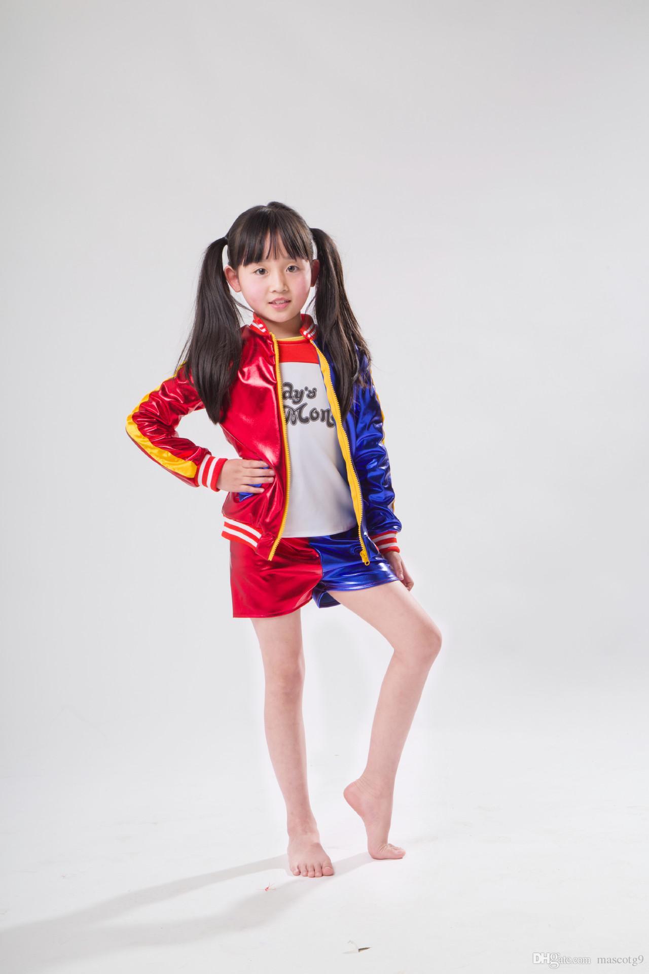 meninas quentes Harley Quinn traje jaqueta T-shirt Tee monstro Lil Suicide esquadrão Cosplay Halloween Costume para crianças menina