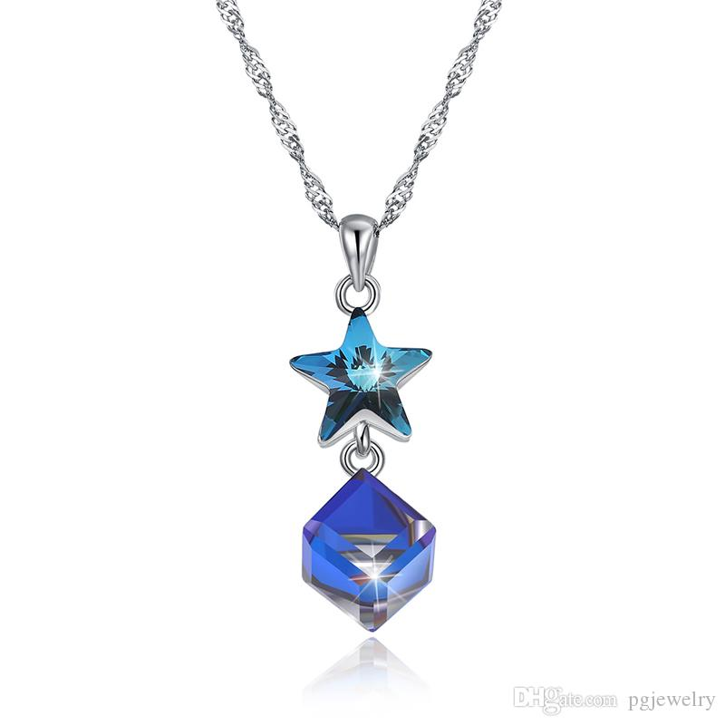 New arrival Popular 925 Sterling Silver Austria Crystal Star Pendant Necklaces fine Jewelry making for women gifts free delivery SVN611
