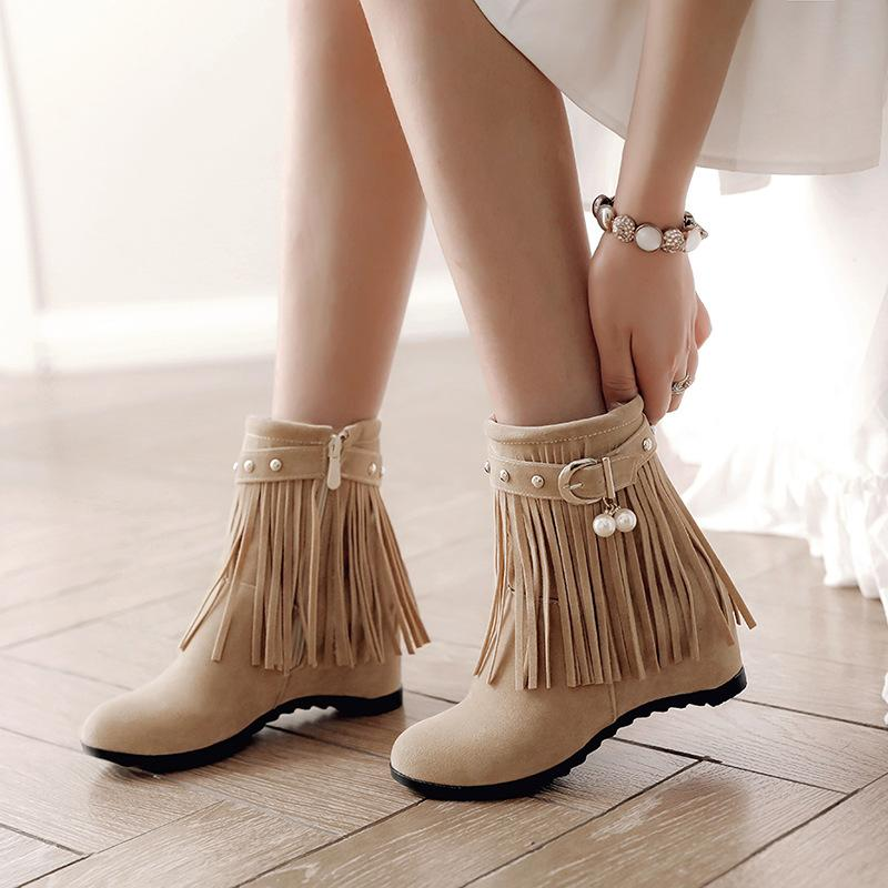 a6b73c2094d4 Tassel Buckle Belt Ankle Boots Girls Height Increasing Nubuck Snow Booties  Women Winter Suede Crystal Short Botines Shoes 34 43 Sporto Boots Boys Boots  From ...