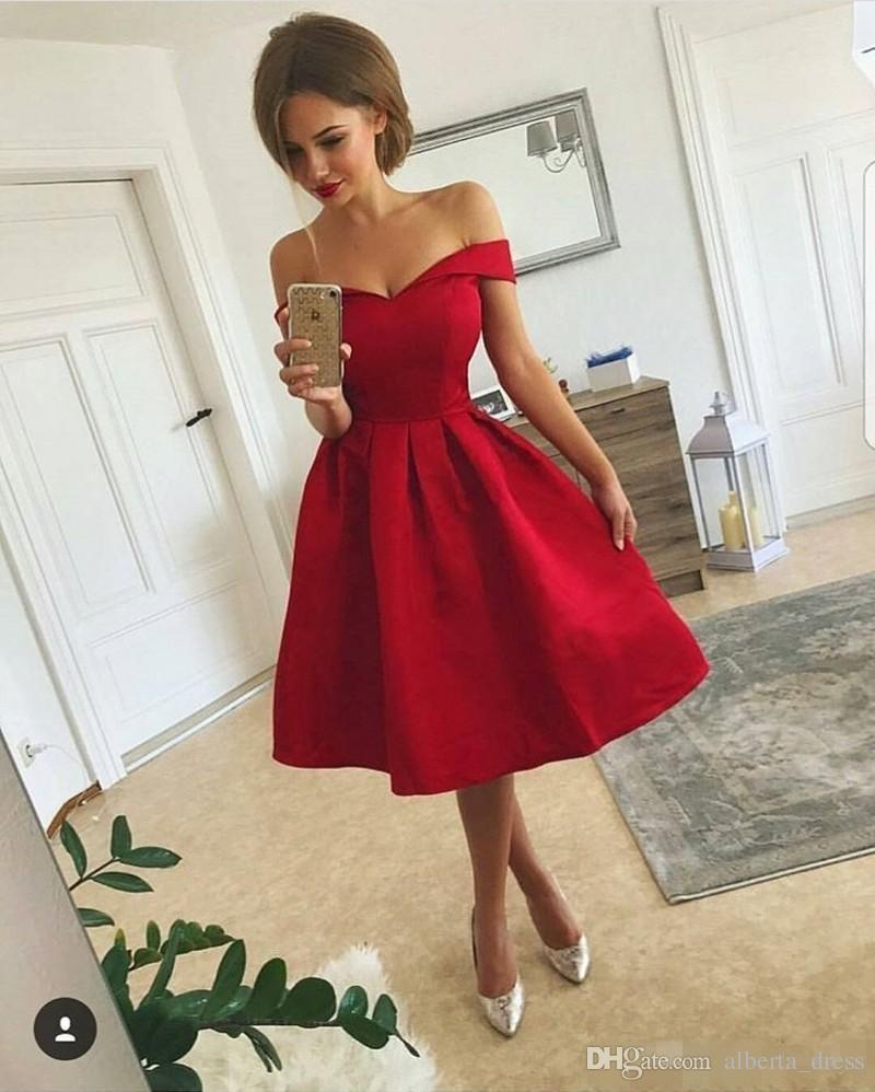 f59f9077f42 Sexy Off Shoulder Short Cocktail Dresses Simple A Line Bandage Plus Size  Formal Club Dress 2018 Red Cheap Prom Party Gowns Arabic Vestidos Cocktail  Dresses ...