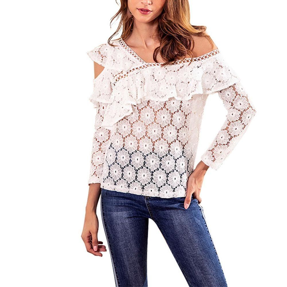 d1dbbd251a Compre Sexy Lace Branco Recorte Ombro Blusa Camisa Oco Out Malha  Transparente Blusa Blusas Mulheres Manga Comprida Tops De Natal De Sincha