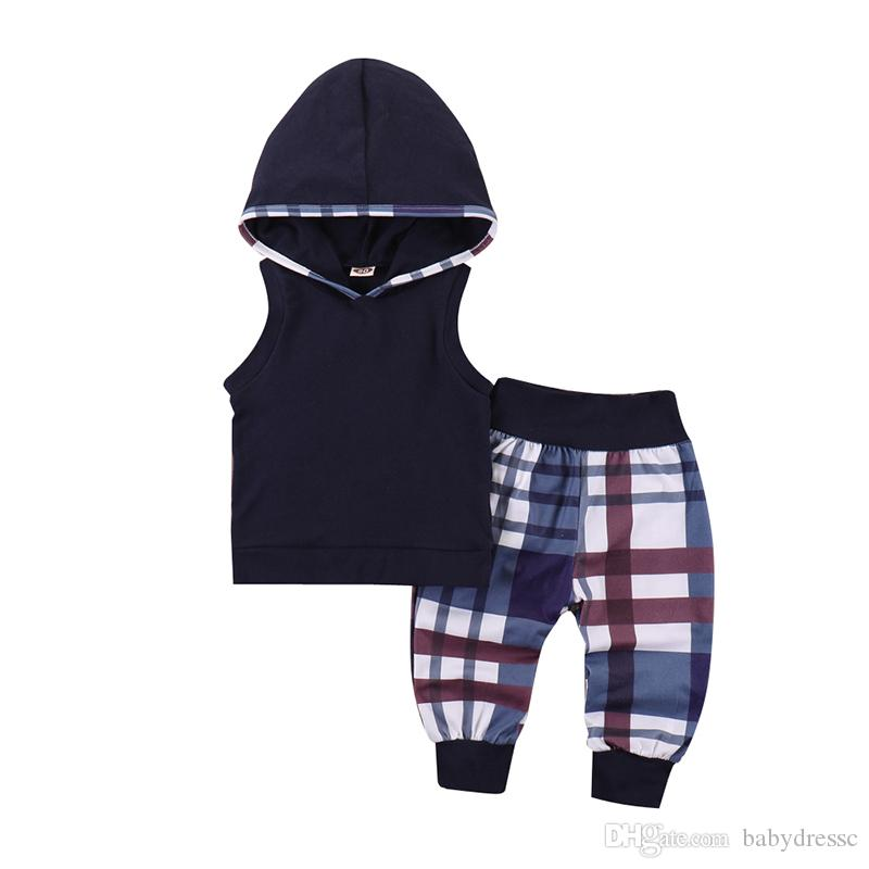 2019 Boy Back To School Two Piece Clothes Black Striped Solid
