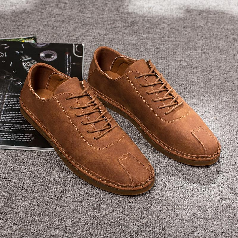 e417ff88127 Handmade PU Leather Loafers Brown Gray Moccasins Lace Up New 2019 ...