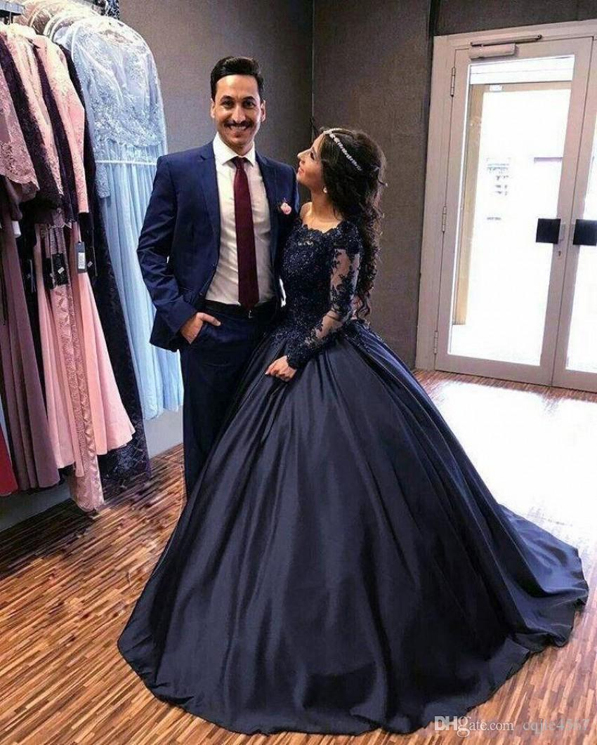 2018 New Fall Winter Navy Blue Long Sleeve Prom Dresses Lace Satin ...