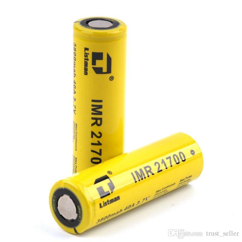 100% d'origine Listman IMR 21700 3800 mAh 20700 3400 mAh Batterie 40A 3.7 V Rechargeable Batterie Li-ion Pour E Cigarette Boîte Mod Authentique