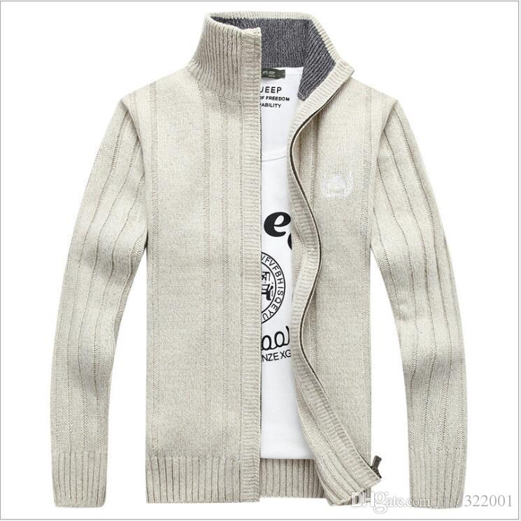 Autumn Winter Men Warm Cardigan Sweatercoat Casual Loose Stand Neck Wool Sweaters Coat Man Zipper Thick Knittwear Plus Size