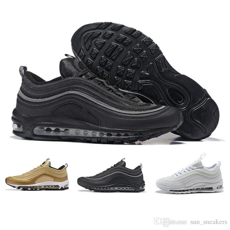 the best attitude 58f0e 5832e Acquista N09 3 Nike Air Max 97 Sneakers Triplo Bianco Nero Rosa Casual  Scarpe Og Metallic Gold Silver Bullet Mens Trainer Scarpe Da Donna Sneakers  Taglia 36 ...