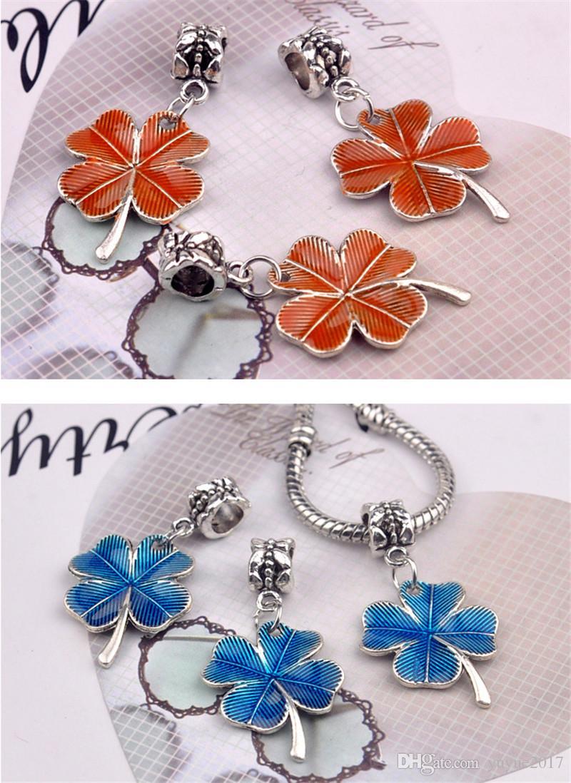 Suerte necklce mujeres y niña de cuatro hojas trébol colgante collares encanto joyería plata Chian regalo colorul DHL envío gratis