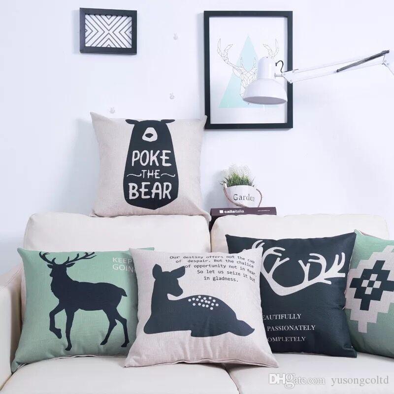 EU Deer Linen Cushion Cartoon Pillow Sofa Cushion Home Furnishing  Decoration Sofa Pillow Cushion Cartoon Pillow Sofa Pillow Online With  $12.7/Piece On ...
