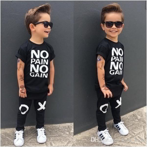 80e407a5 New fashion summer toddler infant baby boys letter printed T-shirt +long  pants 2pcs/set kids boy casual clothing outfits