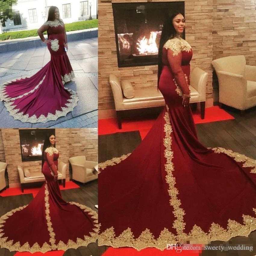 c326e2a0c7957 Plus Size Burgundy With Gold Appliques High Neck Prom Dresses Mermaid  Vintage Long Sleeves Black Girls Evening Gowns Arabic
