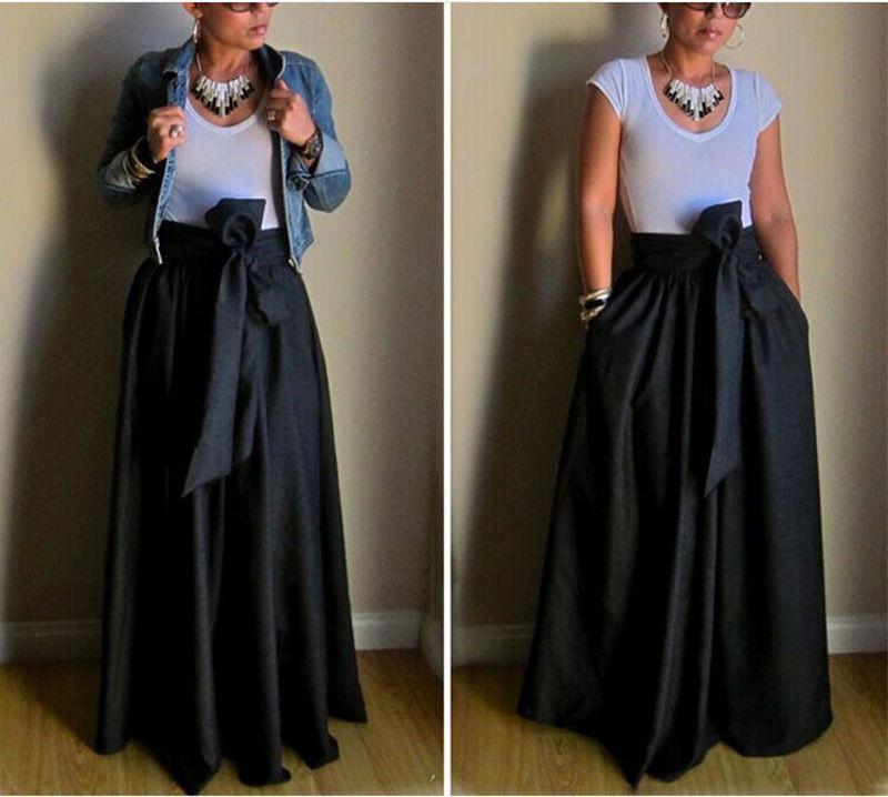 cc7338b85 Nueva moda para mujer faldas de cintura alta sólido negro plisado  ocasionales faldas de verano Long Maxi Beach Bowknot desgaste asimétrico