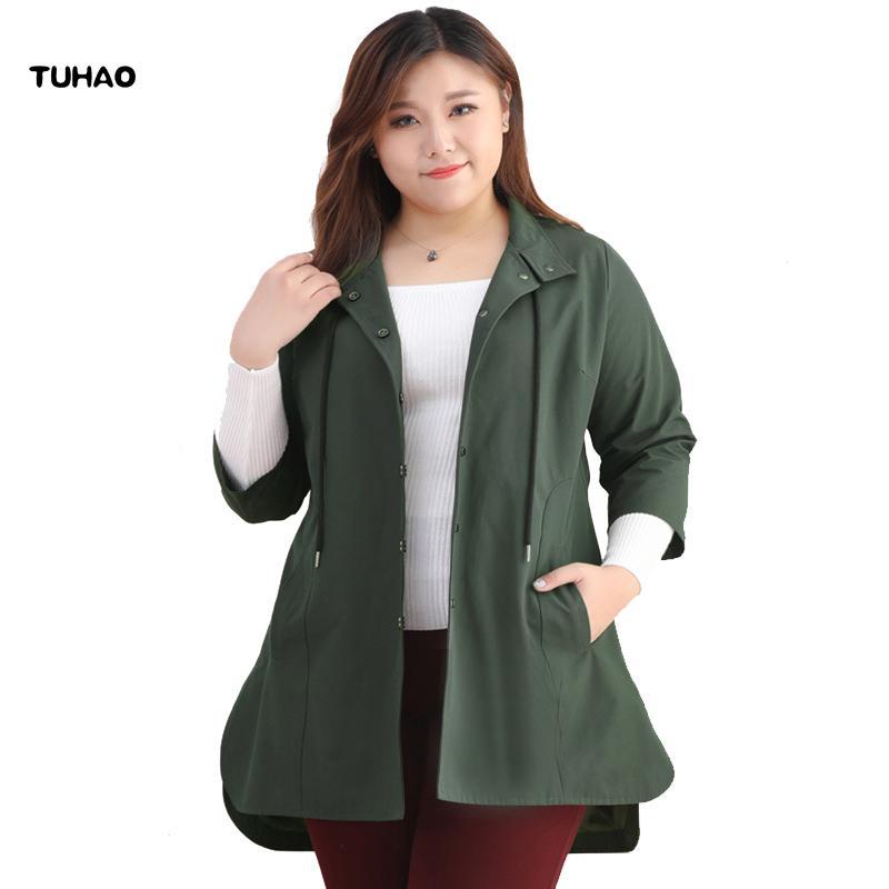 e0b39c75cd Compre TUHAO Plus Size 10XL 9XL 8XL Trench Coat Para Mujer 2018 Casual Coat  WomenOvercoat OFFICE LADY Ropa Para Mujer Talla Grande Para Femme MS A   63.13 ...