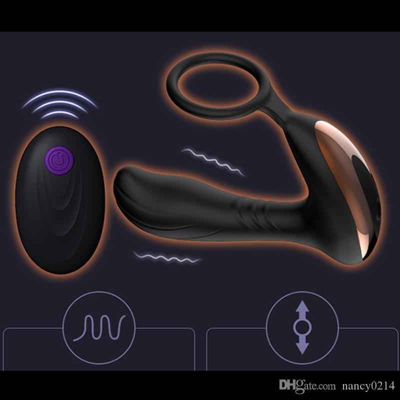 방수 실리콘 남성 전립선 마사지와 반지 아날 진동기 엉덩이 플러그 USB 충전식 성인 장난감 클레이 막스 판타지 섹스 기계 A1-1-63