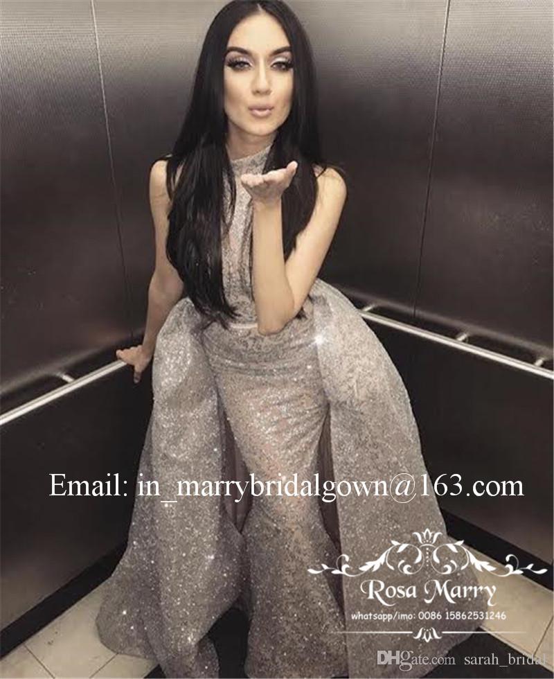 Pırıltılı Sliver payetli Mermaid Abiye Ayrılabilir Tren 2020 Yousef Aljasmi Artı boyutu Arapça Dubai Resmi Abiyeler Akşam Giyim