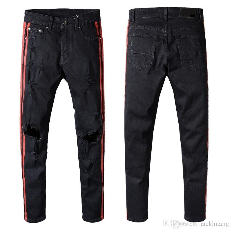 2019 Men S Distressed Hollow Out Jeans Red Side Stripe Black Denim Ripped  Skinny Biker Jeans For Men Slim Trousers Casual Pants W28 40  5334 From  Jackhuang 0700cb99f